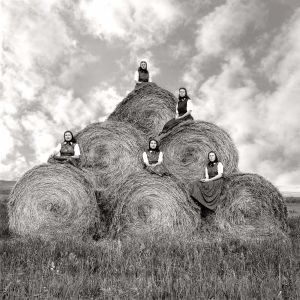 LAURA WILSON Hutterite girls during hay making season, Surprise Creek Colony Stanford, Montana, August 22, 1991