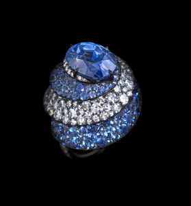 RIBBON RING sapphires, silver, diamonds and gold © Lauren Adriana, photographed by Richard Valencia