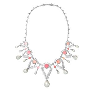 Persica Necklace, 18 karat white gold with white diamonds, conch pearls and South Sea pearls