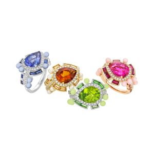 Wisteria Rings, 18 karat white gold with colored gemstones