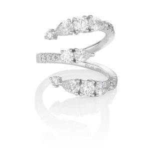 Numerati Ring Number 3, 18 karat white gold with fancy-shaped diamonds
