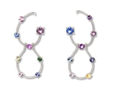 A Pair of Multi Colored Sapphire and Diamond 'Carolyn' Earrings
