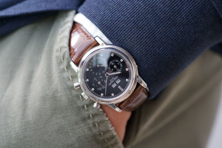 PATEK PHILIPPE Reference 3970P with black dial and diamond indexes