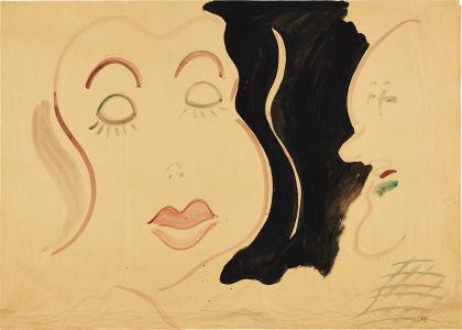 SIGMAR POLKE Ohne Titel (Fräulein mit Kartoffelkopf) (Reihe Duo) (Untitled (Young Lady with Potato Head) (Duo series)), 1966
