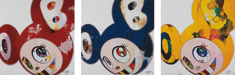 TAKASHI MURAKAMI And Then x6 Red; And Then x6 Blue; And Then x6 Yellow, 2013