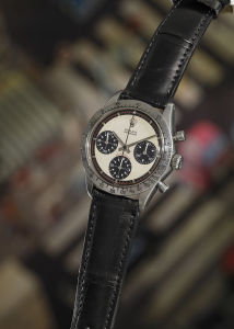 ROLEX Reference 6239. An iconic, highly attractive and historically important stainless steel chronograph wristwatch with off-white dial and tachymeter bezel, circa 1968. Sold for $17,752,500.