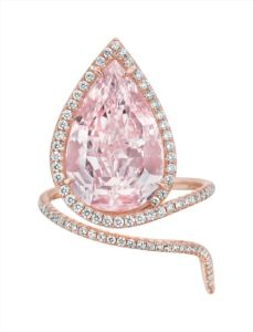 Fancy pink diamond ring. Sold for $2,965,000.