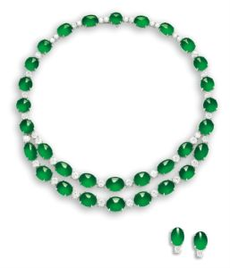 Jadeite and diamond necklace and earrings. Sold for HK$19,300,000.
