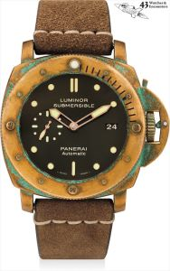 PaneraiLaurent Picciotto Collection: A fine, rare and oversized bronze cushion-shaped wristwatch with date and model boat, numbered 193 of a limited edition of 1000 pieces