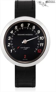 Giuliano MazzuoliLaurent Picciotto Collection: An unusual stainless steel  retrograde wristwatch with sweep centre seconds