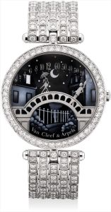 Van Cleef & ArpelsA lady's very fine and rare white gold and diamond-set double retrograde bracelet watch with enamel dial