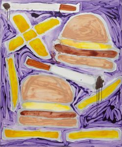 KATHERINE BERNHARDT Hamburgers French Fries + Cigarettes, 2014
