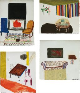 Shara HughesFour works: (i) Black Art and Fireplace; (ii) Computer Table with Rainbow Shades; (iii) Rainbow Lamp; (iv) Grown-Up Table