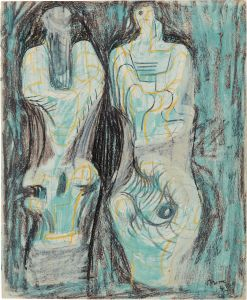 Henry MoorePage from Sketchbook: Two Sculptural Figures on Green Background