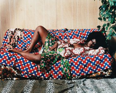 Mickalene ThomasAfro Goddess with Hand Between Legs