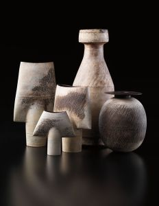 HANS COPER Three 'Spade' forms, a large bottle, and an ovoid and disc form, circa 1958-1972