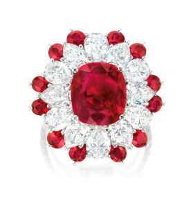 Ruby and diamond ring. Sold for HK$4,300,000.