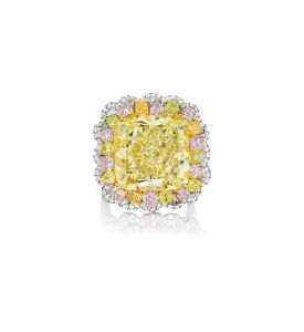 Fancy intense yellow diamond ring. Sold for $746,500.