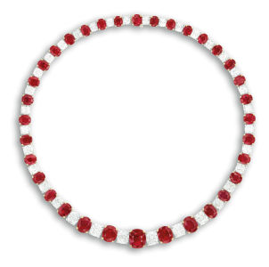 Ruby and diamond necklace. Sold for HK$10,300,000.