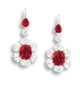 Pair of ruby and diamond earrings. Sold for HK$4,660,000.