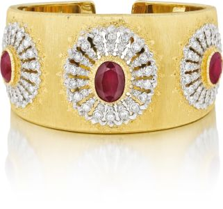 BuccellatiAn Important Ruby and Diamond Gold Cuff Bracelet