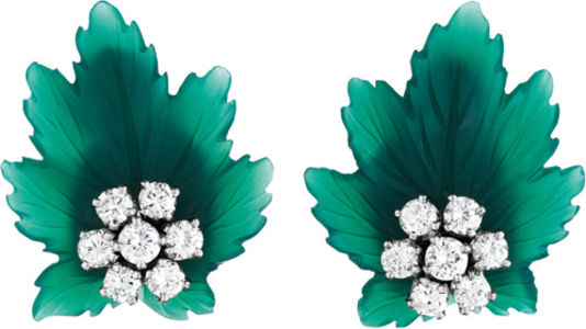 Tiffany & Co.A Pair of Chrysoprase and Diamond Ear Clips