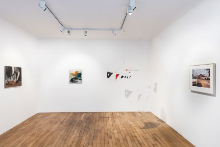 From left to right: MICHAËL BORREMANS Sweet Disposition, 2003; JOAN MITCHELL Untitled, 1957; ALEXANDER CALDER Two Horizontals and Nine Verticals, 1956; WILLIAM EGGLESTON Untitled, 2012