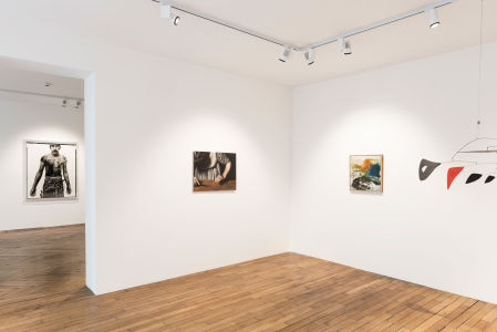 From left to right: RICHARD AVEDON Blue Cloud Wright, slaughterhouse worker, Omaha, Nebraska, August 10, 1979, 1985; MICHAËL BORREMANS Sweet Disposition, 2003; JOAN MITCHELL Untitled, 1957; ALEXANDER CALDER Two Horizontals and Nine Verticals, 1956