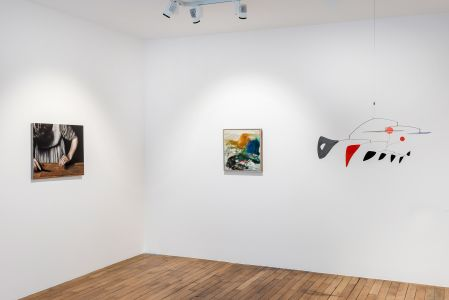 From left to right: MICHAËL BORREMANS Sweet Disposition, 2003; JOAN MITCHELL Untitled, 1957; ALEXANDER CALDER Two Horizontals and Nine Verticals, 1956
