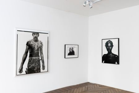 From left to right: RICHARD AVEDON Blue Cloud Wright, slaughterhouse worker, Omaha, Nebraska, August 10, 1979, 1985; RICHARD AVEDON Francis Bacon, artist, Paris, April 11, 1979, 1979; NICK KNIGHT Kate, 2006