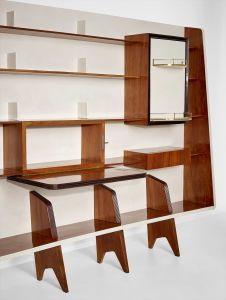 GIO PONTI Rare bookcase with integrated drinks cabinet, circa 1945