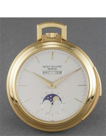 Patek Philippe - A rare and extremely fine yellow gold open face linear perpetual calendar minute repeating watch with moonphase, original certificate and box