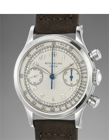 Patek Philippe - An extremely rare and incredibly well-preserved stainless steel chronograph wristwatch with Breguet numerals