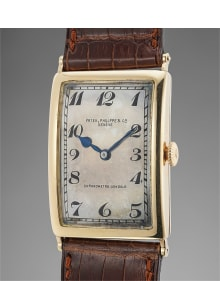 Patek Philippe - An extremely rare pink gold oversized rectangular hinged wristwatch with Breguet numerals, retailed by Gondolo & Labouriau