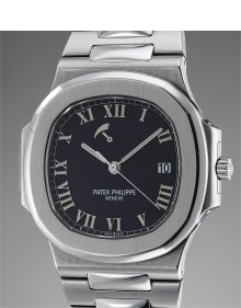 Patek Philippe - A very attractive stainless steel wristwatch with date, power reserve, bracelet, certificate of origin and presentation box