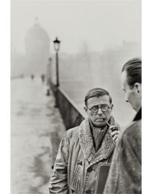 Henri Cartier-Bresson - Jean-Paul Sartre, Le Pont des Arts, Paris
