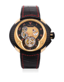 Franc Vila - A fine and unusual limited edition pink gold and carbon-fiber tourbillon wristwatch with power reserve, International Warranty and box, numbered 1 of a limited edition of 8 pieces