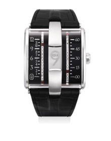Harry Winston - A very fine and rare limited edition white gold, diamond-and-garnet-set wristwatch with belt time indicators, international warranty and presentation box, numbered 50 of a limited edition of 100 pieces
