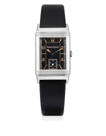 Jaeger-LeCoultre - An early and rare stainless steel reverso wristwatch with black dial