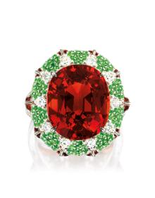 NoArtist - A Spessartite Garnet, Tsavorite Garnet and Diamond Ring