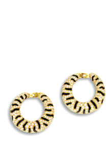 Cartier - A Pair of Onyx and Diamond 'Tiger' Ear Clips, Cartier