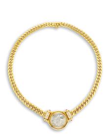 Bulgari - A Karat Gold, Diamond and Ruby 'Monete' Necklace, Bulgari