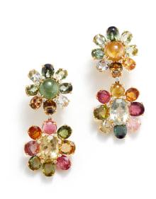 NoArtist - A Pair of Tourmaline, Quartz, and Diamond Earrings