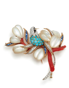 NoArtist - A Diamond, Sapphire, Turquoise, Mother-of-Pearl, Coral, and Onyx Brooch