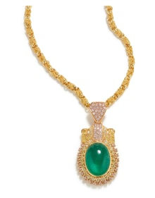 NoArtist - An Emerald, Diamond, and Gold Necklace