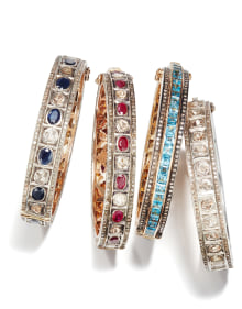 NoArtist - A Set of Diamond, Sapphire, Ruby and Topaz Bangle Bracelets