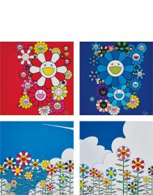 Takashi Murakami - Rose Velvet; Blue Velvet; Flower; and Flower 2