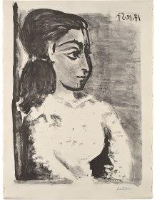 Pablo Picasso - Buste de femme au corsage blanc (Jacqueline de profil) (Bust of a Woman with White Bodice, Jacqueline in Profile)