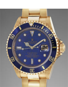 Rolex - A highly attractive and the only publicly known yellow gold wristwatch with lapis lazuli and diamond-set dial, center seconds and bracelet