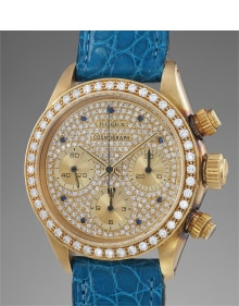 Rolex - A stunning, possibly unique and extremely well preserved yellow gold and diamond-set chronograph wristwatch with pavé dial